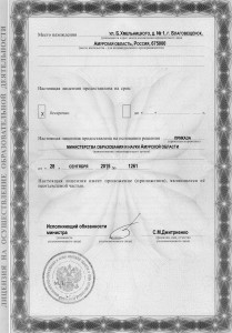 лицензия 2 сторона